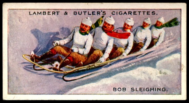 """#15 Bob Sleighing - Cigarette Card - Lambert & Butler's Cigarettes, """"Winter Sports"""" (series of 25 issued in 1914) Flickr Photo Sharing."""