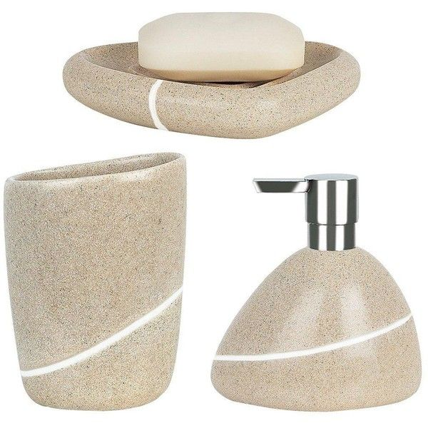 Spirella Etna Set Of 3 Bathroom Accessories ($49) ❤ liked on Polyvore featuring home, bed & bath, bath, bath accessories, stone bathroom accessories, stone tumbler and stone soap dish