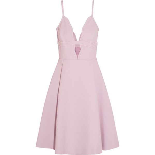 Giambattista Valli Cutout crepe mini dress ($705) ❤ liked on Polyvore featuring dresses, pink, short pleated dress, pink fitted dress, pink dress, short loose dresses and cut-out dresses