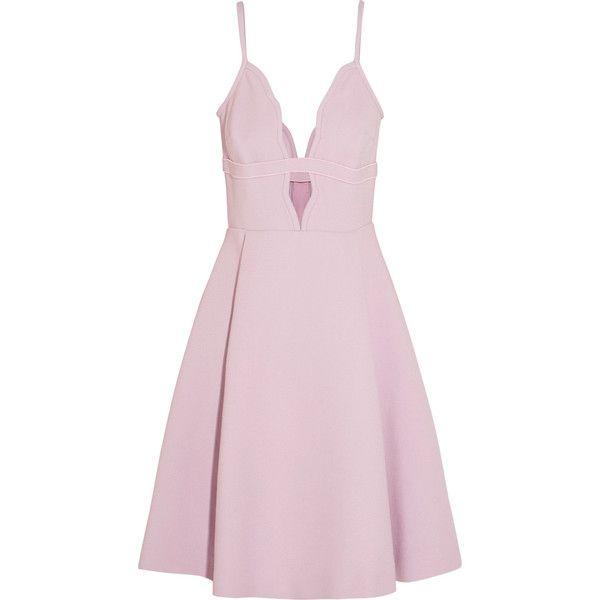 Giambattista Valli Cutout crepe mini dress found on Polyvore featuring dresses, pink, mini dress, fitted dresses, short pleated dress, loose fitting dresses and short fitted dresses