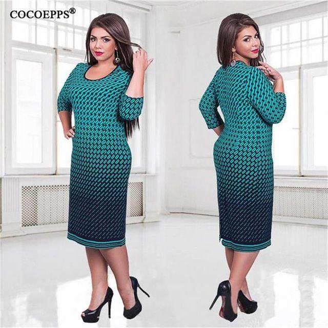 Elegante Outono Inverno as mulheres se vestem tamanhos grandes Mulheres vestidos longos soltos plus size L-6XL vestido de Três Quartos vestido ocasional vestidos