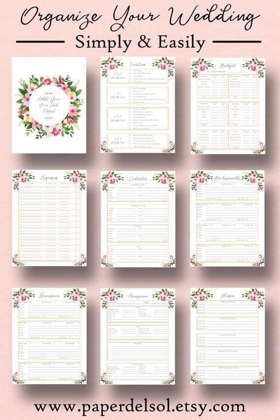 Wedding Planner Printable Wedding Planner Pages Do It Etsy Wedding Planning Binder Wedding Planner Printables Wedding Planner Binder