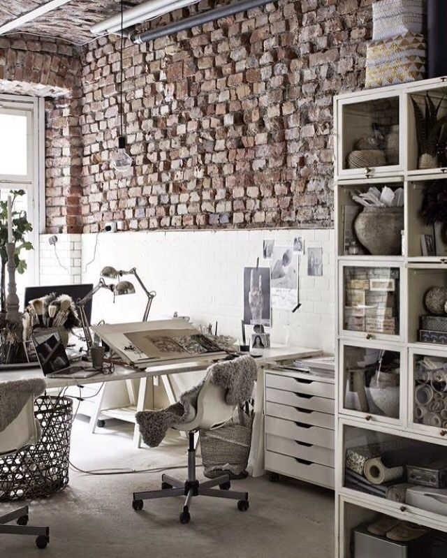 Ecletic interior bricks home office workspace work from home italianbark