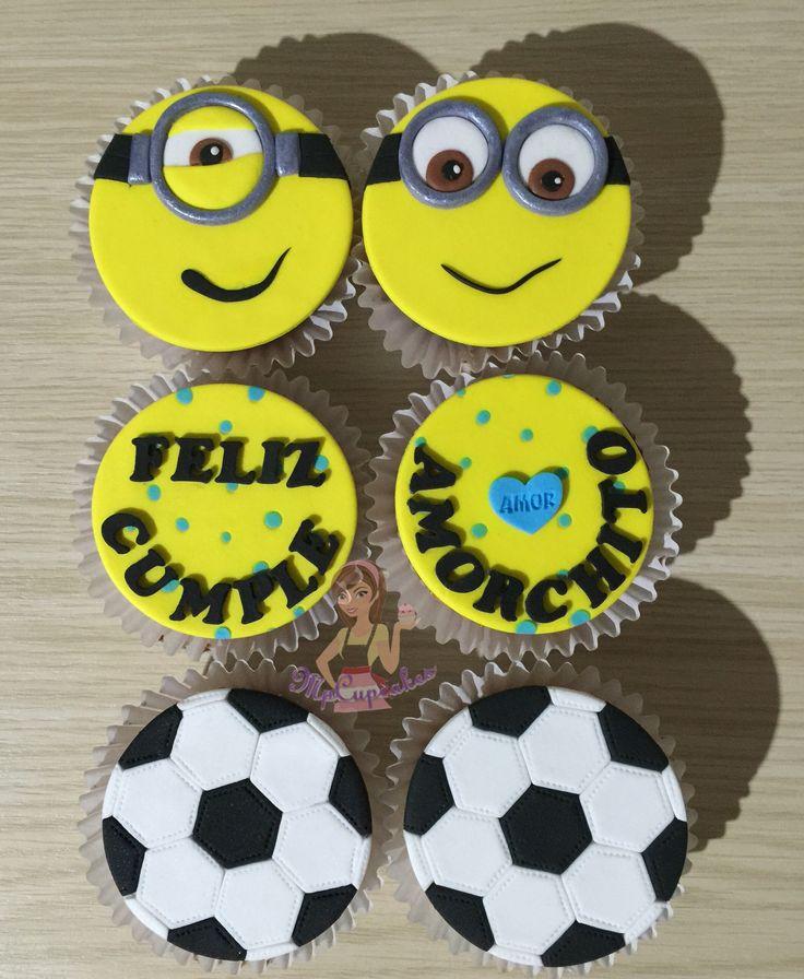 Cupcakes Minions / cupcake futbol / cupcakes de amor / cupcake con mensaje