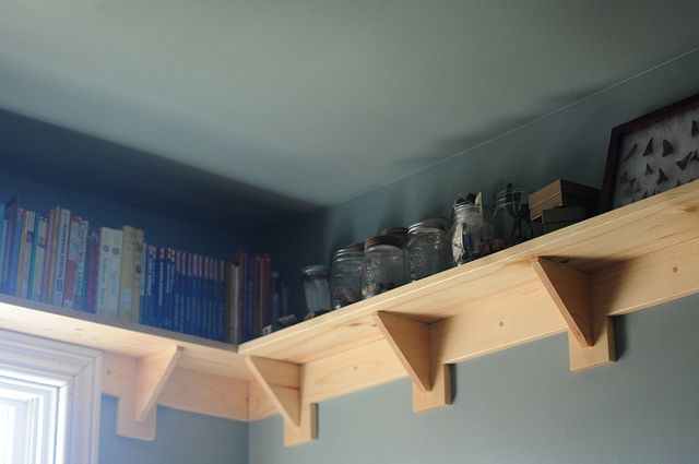 Shelves above the window, all around the room... also in this post, shelf on the wall by bunkbed and other storage for boy's room.
