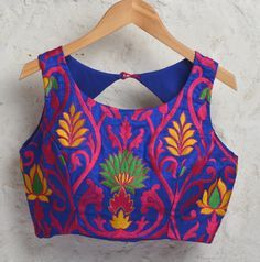 Blue Padded Silk Blouse with Bright Floral by Amoristudios on Etsy
