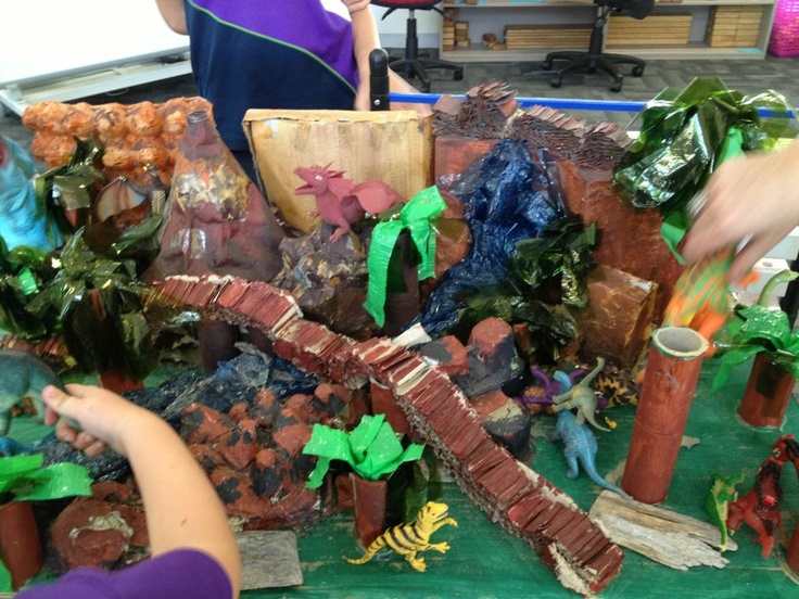 Dino Land...a mini land created with papier mache' etc and the kids love it!