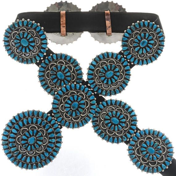 Vintage Turquoise Concho Belt by Victor Moses Begay 1970's