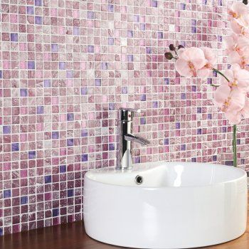 Pink and purple bathroom wall tiles pretty girly for for Purple mosaic bathroom accessories