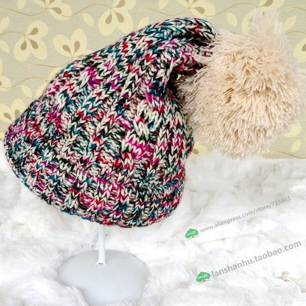 >> Click to Buy << Big Pompom Hats Solid Color Women's Caps Winter Knitted Skulies & Beanies Free Shipping Acrylic Cable Thick Hats for Women #Affiliate