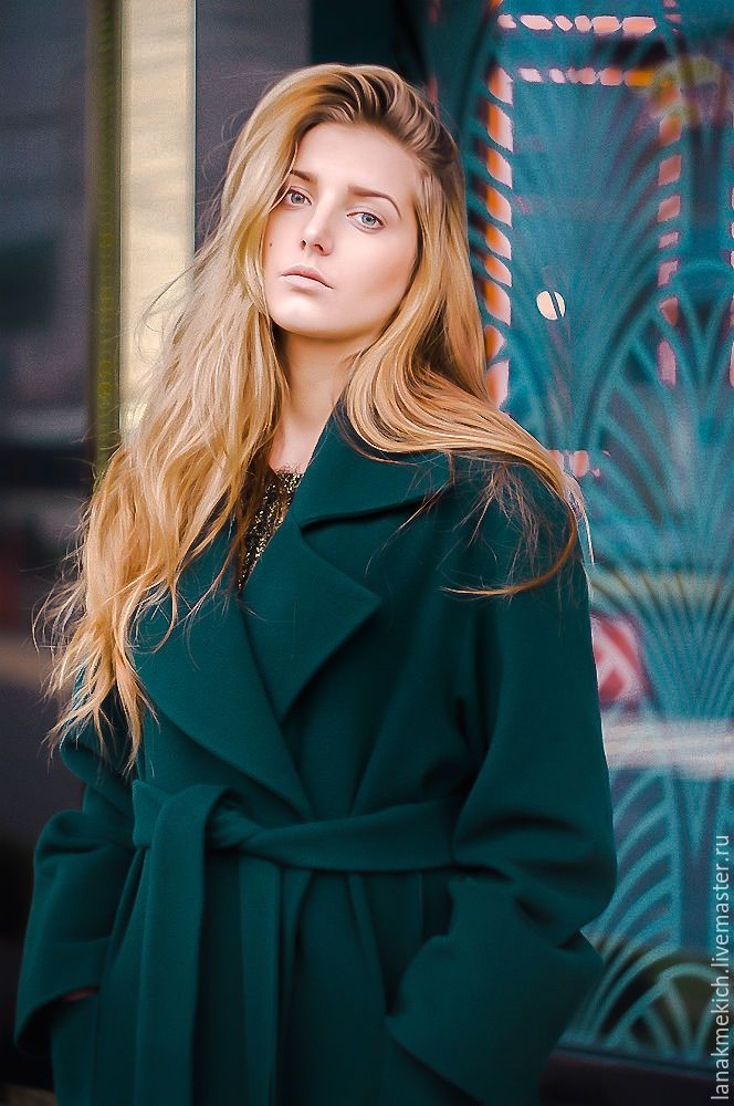 "Coat with belt ""Emerald"" – shop online on Livemaster with shipping"
