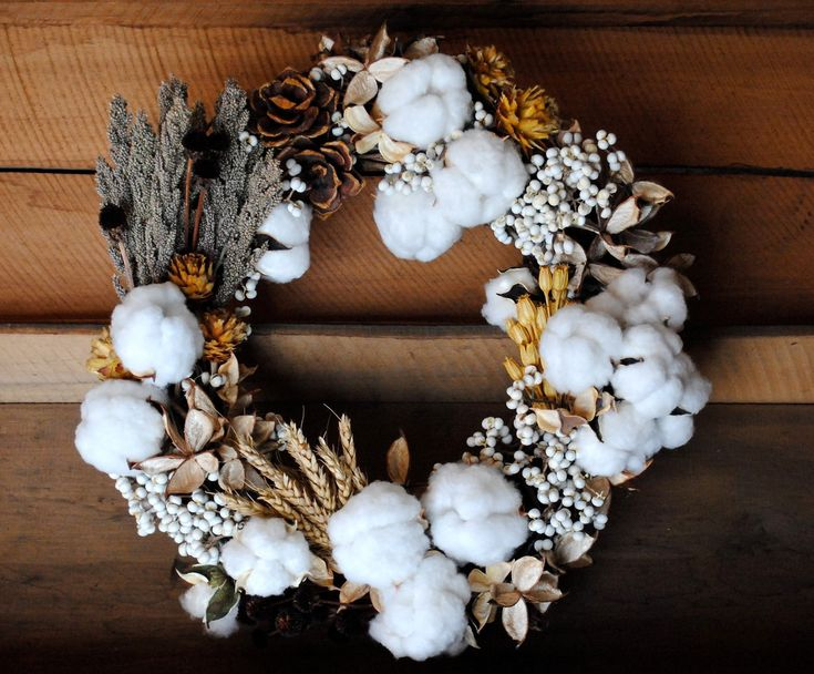 "Mixed Cotton Boll Wreath - Natural Cotton - Raw Cotton - Dried Floral - Centerpiece - Candle Ring - Wedding - Home Decor - 18"". $160.00, via Etsy."