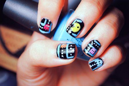 : Nails Art, Pacmannails, Style, Nails Design, Nailart, Pac Man Nails, Beautiful, Pac Men Nails, Pacman Nails