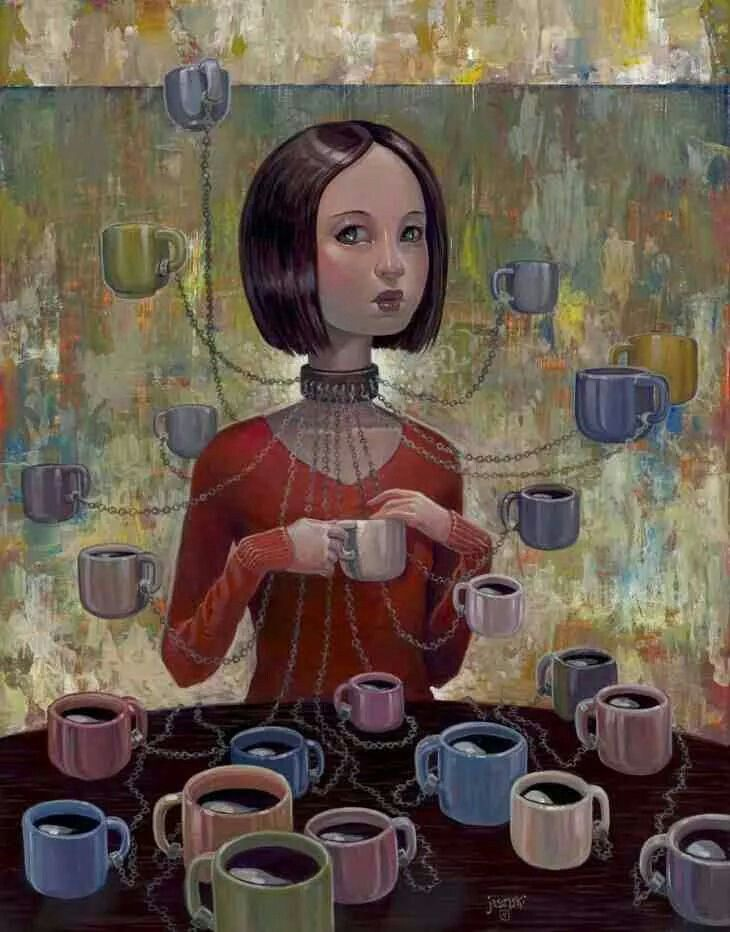 Image result for A girl in a cafe surreal