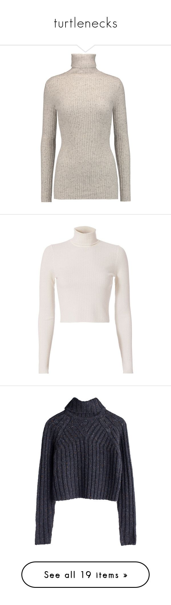 """turtlenecks"" by sarahelisabetha ❤ liked on Polyvore featuring tops, sweaters, pullover sweater, cropped pullover sweater, cropped sweater, turtleneck crop tops, brown pullover sweater, blusa, jumpers and light gray"