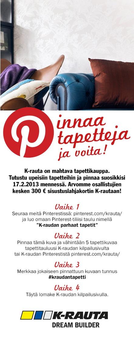 Kilpailulomake löytyy osoitteesta http://www.k-rauta.fi/Pages/pinterest.aspx    #kraudantapetti