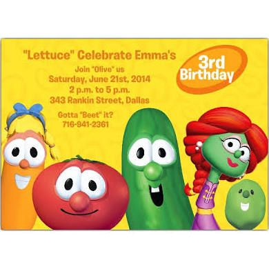 veggie tales birthday invitations - Google Search