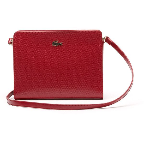 Lacoste Chantaco Crossover Bag in Leather featuring polyvore, fashion, bags,  handbags, shoulder bags, bags bags, leather goods, red…   Handbags (purse)  ... e3de47ba15