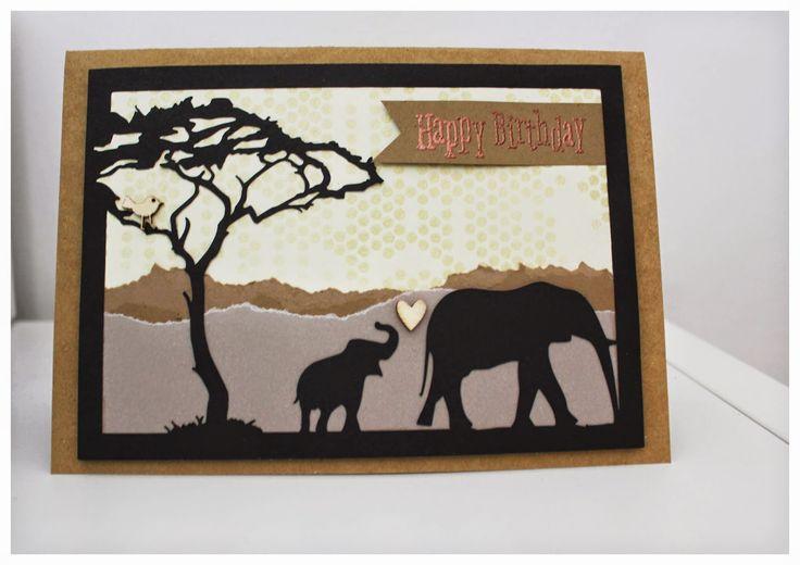 Karte, Card, Afrika, Elefant, Elephant, Silhouette-Cameo