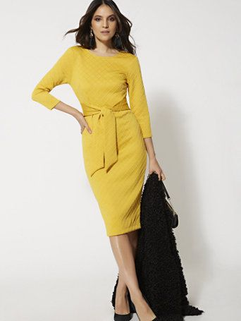 049bc7da9 Shop Quilted Tie-Front Sheath Dress. Find your perfect size online at the  best price at New York & Company.