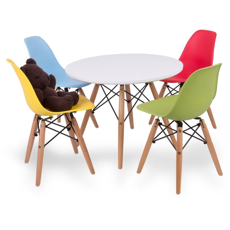 Up & About Kids Eames Setting - 5-Piece Childrens Furniture Set - Round Gloss Table & 4 Moulded Chairs with Beech Wood Legs & Metal Frame - Multicoloured
