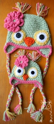 adorable crochet Owl hats for Big sister and new baby sister.