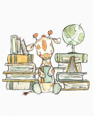 This giraffe loves his books. - art print from an original watercolor, gouache, and acrylic painting by Kit Chase. - archival matte paper and ink - vertical print - ships worldwide from the U.S. - wat