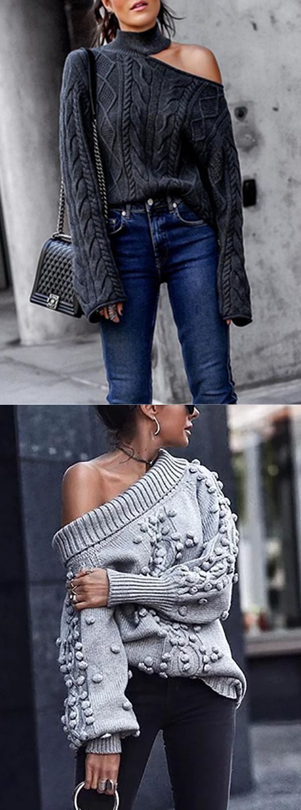 Twisted High Neck Pullover Off-The-Shoulder Knitted Sweater #Winter #Clothing #F… – Stricken