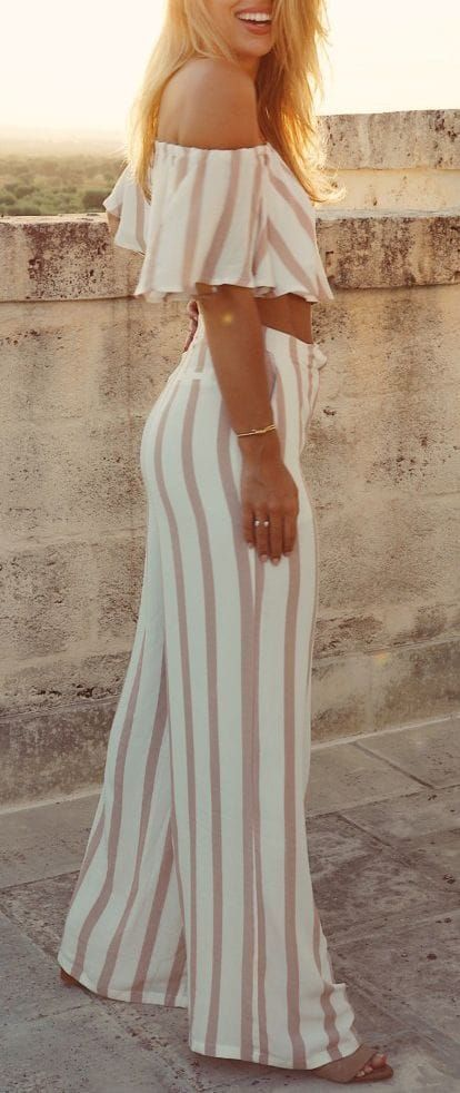 Maillot de bain : #summer #outfits / striped two piece jumpsuit 2
