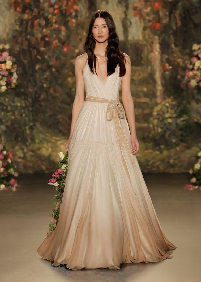 Abiti da sposa 2016 Iced coffee colore per wedding dress vintage e bohemien, Abito da sposa Jenny Patckam