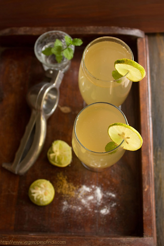shikanji or indian lemonade: a sweet, tangy and lightly spiced refreshing drink made from lemons and cumin.