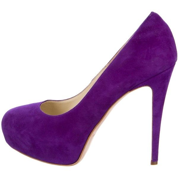 Pre-owned Brian Atwood Suede Round-Toe Platform Pumps ($95) ❤ liked on Polyvore featuring shoes, pumps, purple, suede shoes, round toe pumps, purple suede shoes, purple shoes and platform shoes