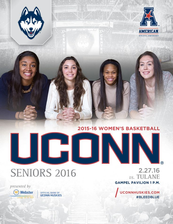 Celebrate the seniors with this 2015-16 UConn Huskies Women's Basketball vs. Tulane Roster Card on February 27, 2016. @uconnhuskies