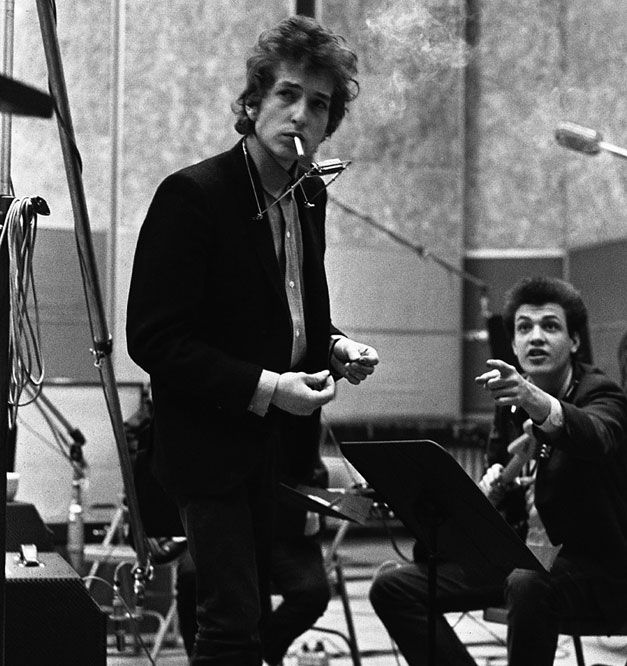 "Dylan & Mike Bloomfield Dylan releases follow up to Bringing It All Back Home i.e. ""Highway 61 Revisited"""