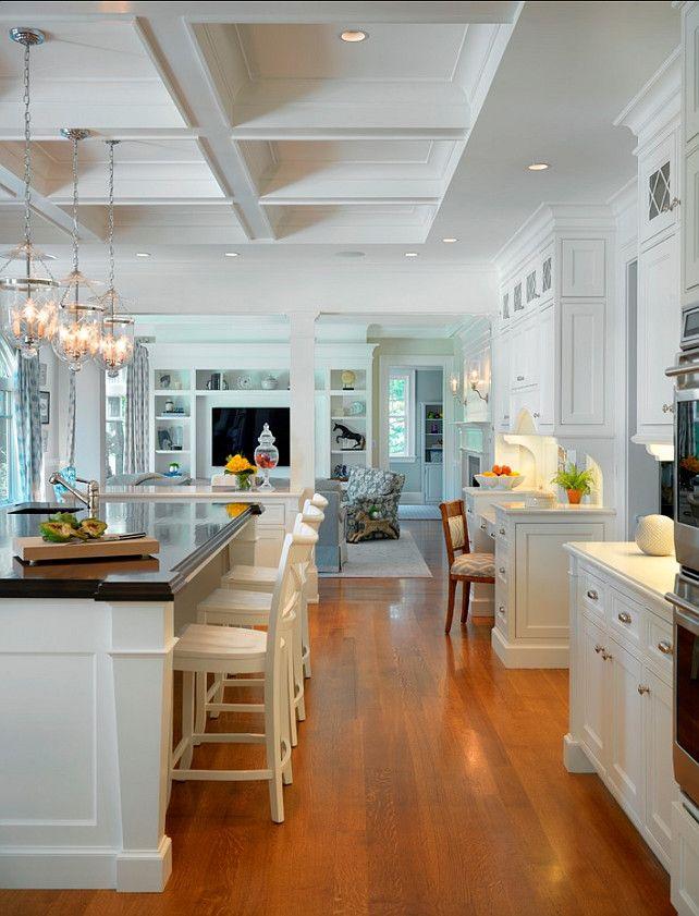 Traditional White Kitchen. Traditional White Kitchen Design. #Traditional #WhiteKitchen. Kitchen Countertop Ideas: The island counter is mah...