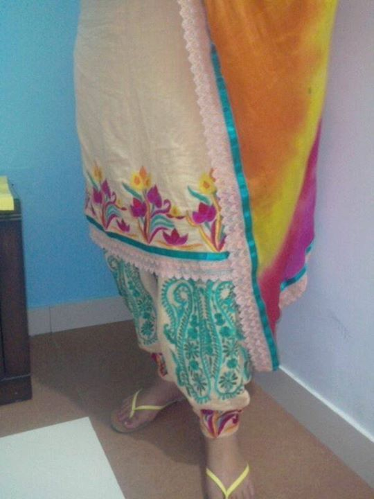 Punjabi suit with machine embroidery. Only 6500rs.with stitching nd chinon dupatta