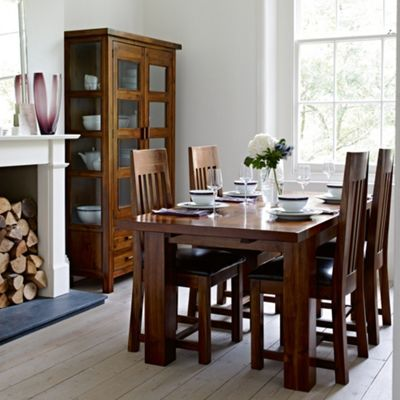 Rich Dark Acacia Elba Small Extending Dining Table With Four Slatted Chairs