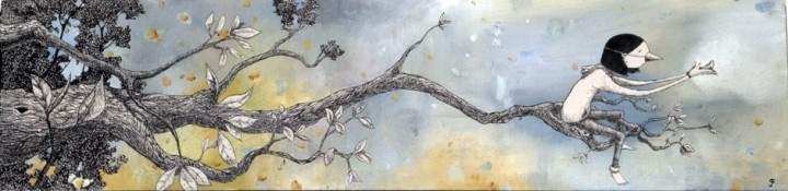 she did all she could, it was time to let go by graham franciose.  oil and ink on stained pine box.