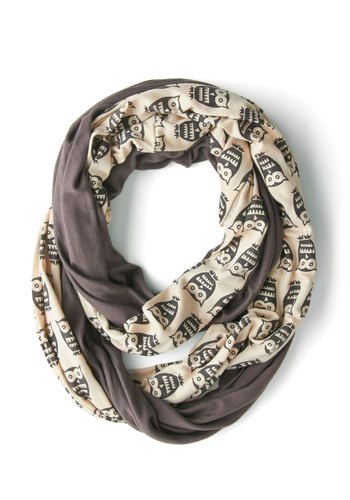 Peek of Pattern Scarf in Owls - Grey, Tan / Cream, Print with Animals, Owls, Good, Jersey, Cotton, Knit, Variation