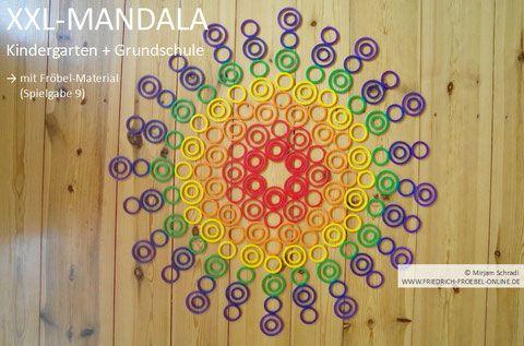 Mandala, gelegt auf dem Boden als Spielidee/ Vorlage  nach Fröbel (Spielgaben) für Kinder in Kindergarten und Schule