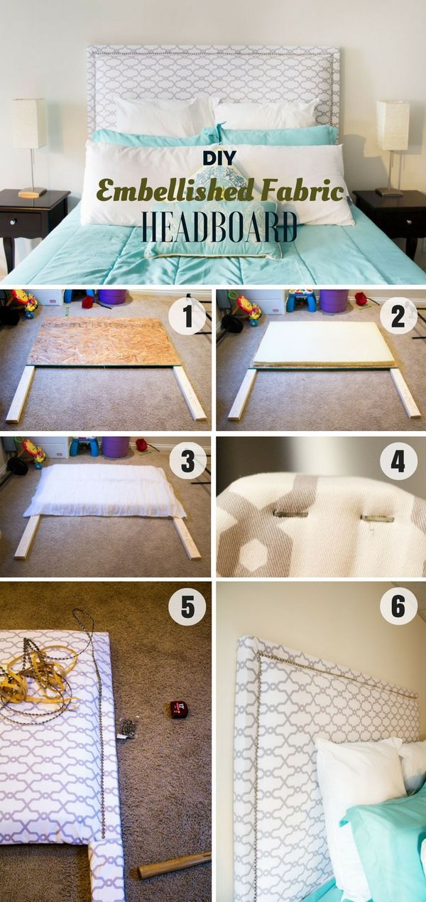 Check out how to build this easy DIY Embellished Fabric Headboard @istandarddesign