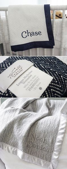 Forever Blanket by Swell Forever. Unique, personalized baby blankets with custom message tags. Perfect for boy or girl nurseries, baby showers, first birthdays, Baptism, Christening, and new baby gifting. Navy and grey fabrics and monograms. Handmade heirloom baby blankets made in Atlanta. We support adoption.