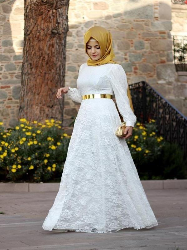 e5fe8567a280b Beyaz Güpürlü Elbise Modelleri | Tesettür | Elbise modelleri, Giyim ...