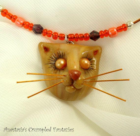 Beige light brown kitty pendant Polymerclay by CrumpledFantazies