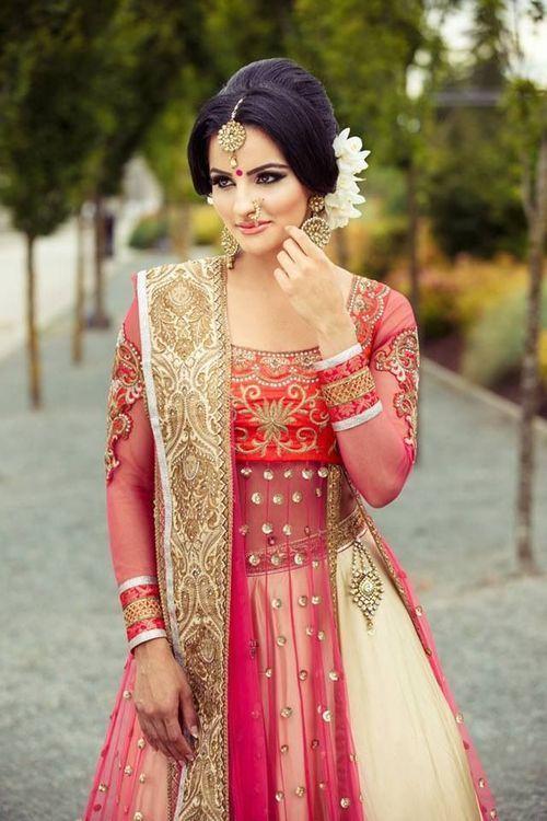 pretty, wedding, bride, dress, makeup, bindi, tika, red white