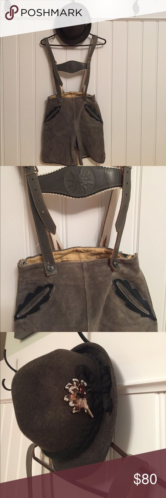 Authentic Austrian lederhosen and hat Loden-green leader lederhosen; purchased in Austria about 60 years ago. Fully lined and adjustable. No size given but fits someone who is approx size 0-4. Hat is newer but also authentic; wool with feather decoration. Other
