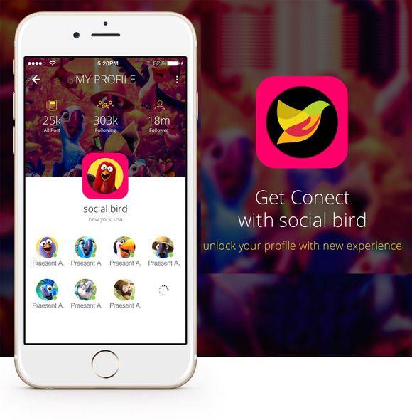 4 Flat Social Bird App Design UI by Amit Rai on @creativemarket