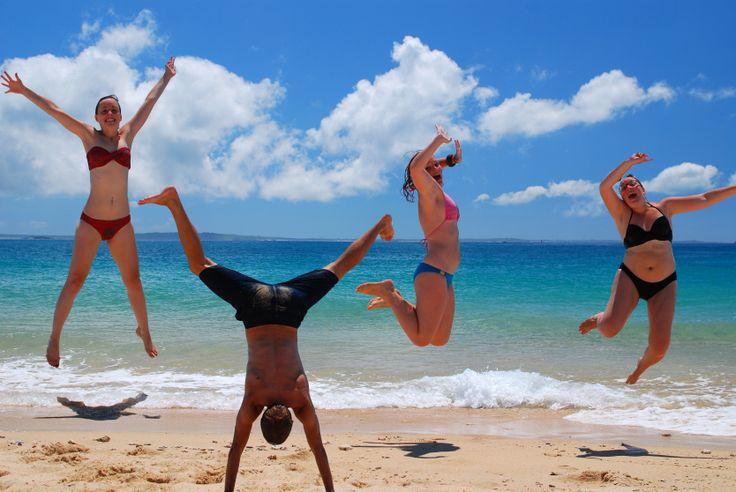 Taiwan - Penghu - Enjoying the glorious beach life with a compulsory Taiwanese jumping shot! I bet you don't think of a tropical beach when you think of Taiwan!!! (12/09/10)
