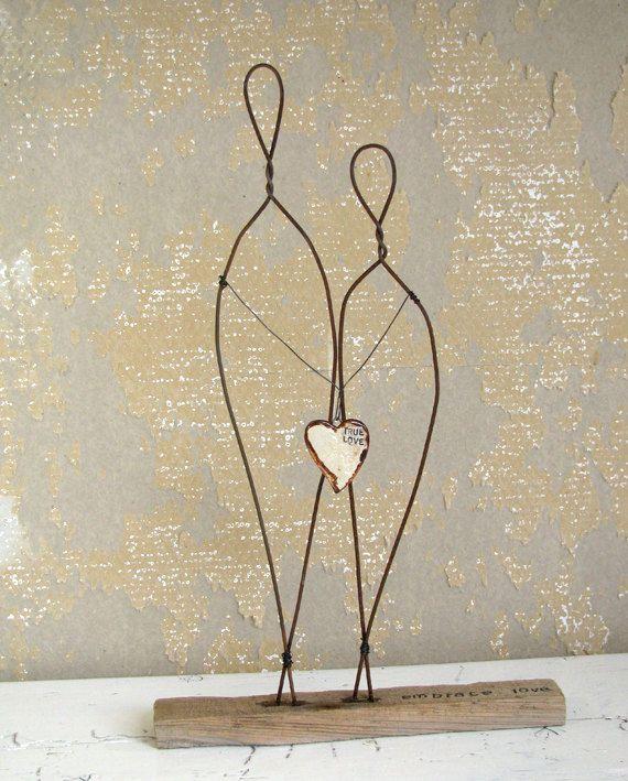 Draht Skulptur Embrace wahre Liebe Cake Topper Hochzeit Geschenk Driftwood Mischtechnik Kunst