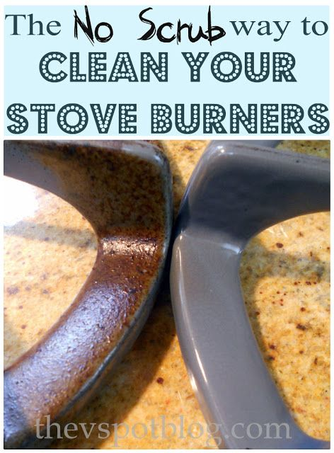 To clean stove burners: Take about 1/4 cup of ammonia and seal it up with one of the burners in a large ziploc bag.  You don't need to soak them, it's the fumes that break down the stains..